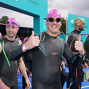 London, England, UK. 16th September 2017. Hundreds takes part Swim Serpentine the 2 mile Pink Wave 5 at Serpentine lake.