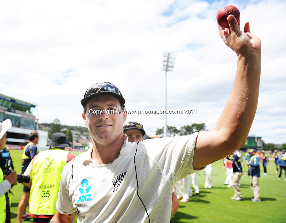 Doug Bracewell celebrates after taking 6 wicketsfor a famous test match victory over Australia on Day 4 of the second cricket test between Australia and New Zealand Black Caps at Bellerive Oval in Hobart, Monday 12 December 2011. Photo: Andrew Cornaga/Photosport.co.nz