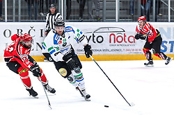 Anze Ropret of Olimpija vs Anze Terlikar of Jesenice during ice hockey match between HDD SIJ Acroni Jesenice and HDD Telemach Olimpija in Final of Slovenian League 2015/2016, on March 31, 2016 in Podmezaklja, Jesenice, Slovenia. Photo By Matic Klansek Velej / Sportida