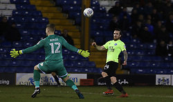 Jack Marriott of Peterborough United lifts the ball over Connor Ripley of Bury to score the winning goal - Mandatory by-line: Joe Dent/JMP - 13/03/2018 - FOOTBALL - Gigg Lane - Bury, England - Bury v Peterborough United - Sky Bet League One