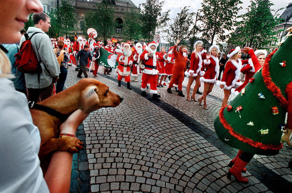 Every year santas from all over the world gather in Copenhagen, Denmark in July. They discuss important issues such as the date of Christmas and the taste of the herring..They also have some fun, parade through town and take a dip in the sea.