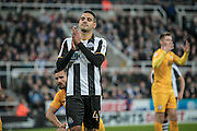 Aleksandar Mitrović (Newcastle United) is inches away from increasing Newcastle's lead during the EFL Cup 4th round match between Newcastle United and Preston North End at St. James's Park, Newcastle, England on 25 October 2016. Photo by Mark P Doherty.