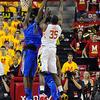 16 February 2013:   Maryland Terrapins forward James Padgett (35) in action against Duke Blue Devils forward Amile Jefferson (21) at the Comcast Center in College Park, MD. where the Maryland Terrapins defeated the Duke Blue Devils, 83-81.