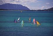 Windsurfers, Kailua Bay, Kailua Beach, Kailua, Oahu, Hawaii, USA<br />