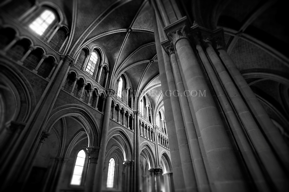 Black And White Photo Ceiling Of The Lausanne Cathedral In Switzerland