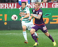 06.04.2014, Generali Arena, Wien, AUT, 1. FBL, FK Austria Wien vs SK Rapid Wien, 31. Runde, im Bild Thomas Schrammel, (SK Rapid Wien, #4) und Daniel Royer, (FK Austria Wien, #28) // during Austrian Bundesliga Football 31st round match, between FK Austria Vienna and SK Rapid Vienna at the Generali Arena, Wien, Austria on 2014/04/06. EXPA Pictures © 2014, PhotoCredit: EXPA/ Thomas Haumer