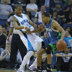 08 February 2009: Minnesota Timberwolves guard Sebastian Telfair (3) bumps into New Orleans Hornets guard Antonio Daniels (50) during a NBA game between the Minnesota Timberwolves and the New Orleans Hornets at the New Orleans Arena in New Orleans, LA.