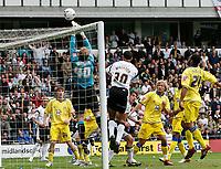 Photo: Steve Bond.<br />Derby County v Leeds United. Coca Cola Championship. 06/05/2007. Caspar Ankergren pushes the ball over under pressure from Lewin Nyatanga