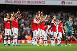 Arsenal players applaud the fans before kick off - Mandatory by-line: Arron Gent/JMP - 22/09/2019 - FOOTBALL - Emirates Stadium - London, England - Arsenal v Aston Villa - Premier League