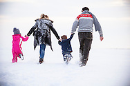 Family, Children, Hand in Hand, Bonding, Snowy Landscape, Rear View,
