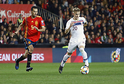 March 23, 2019 - Valencia, Community of Valencia, Spain - Norway's Martin Odegaard seen in action during the Qualifiers - Group B to Euro 2020 football match between Spain and Norway in Valencia, Spain. Spain beat Norway, 2-1 (Credit Image: © Manu Reino/SOPA Images via ZUMA Wire)