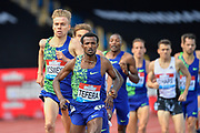 Samuel Tefera (ETH) leads the field on his way to finishing 4th in a time of 3.35.77 during the men's 1500m at the Birmingham Grand Prix, Sunday, Aug 18, 2019, in Birmingham, United Kingdom. (Steve Flynn/Image of Sport via AP)