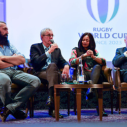 Sebastien Chabal, president of GIP Jacques Rivoal, sports minister Laura Flessel and president of French Rugby Federation Bernard Laporte during the press conference World Cup Rugby 2023 on May 15, 2018 in Paris, France. (Photo by Aude Alcover/Icon Sport)