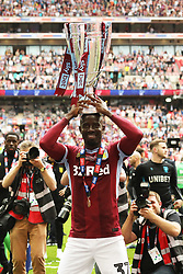May 27, 2019 - London, England, United Kingdom - Albert Adomah (37) of Aston Villa lifts the play off trophy after Aston Villa win the EFL Championship Play-Off Final during the Sky Bet Championship Play Off Final between Aston Villa and Derby County at Wembley Stadium, London on Monday 27th May 2019. (Credit Image: © Mi News/NurPhoto via ZUMA Press)