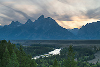 Setting sun at Snake River Overlook Grant Teton National Park Wyoming