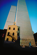 NYC, NY, World Trade Center and Saint Nicholas Greek Orthodox Church, Twin Towers, designed by Minoru Yamasaki, International Style I