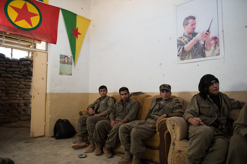 Members of the HPG sitting in a military base in Shingal (Sinjar), Iraq, August 26, 2015