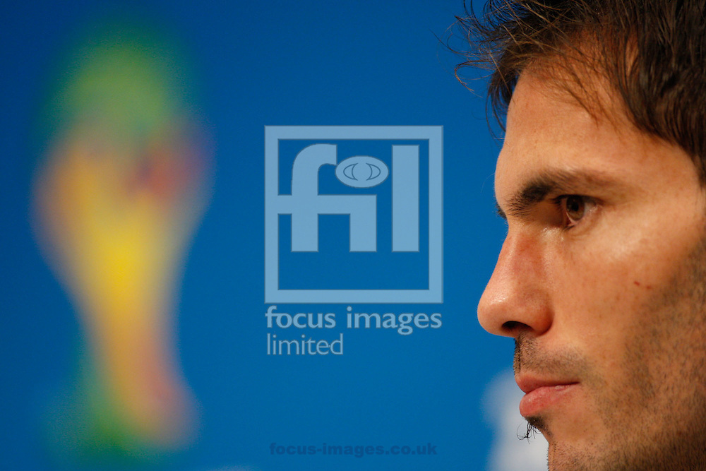Jose Maria Basanta of Argentina during the Argentina press conferece at Maracana Stadium, Rio de Janeiro, ahead of tomorrow's World Cup Final. <br /> Picture by Andrew Tobin/Focus Images Ltd +44 7710 761829<br /> 12/07/2014