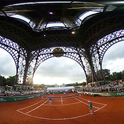 30.05.2018  Roland-Garros Tennis visits The Eiffel Tower in Paris France for a special legends exhibition doubles event on a court built beneath of the four legs of the Eiffel tower featuring John MeEnroe, Mansour Bahrami, Sergi Bruguera and Cedric Pioline <br /> Panoramic view