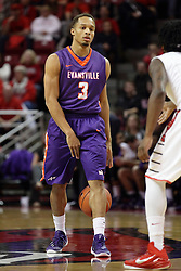 15 January 2016: Jaylon Brown(3) dribbles between his legs as he comes up the court during the Illinois State Redbirds v Evansville Purple Aces at Redbird Arena in Normal Illinois (Photo by Alan Look)