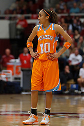 Dec 20, 2011; Stanford CA, USA;  Tennessee Lady Volunteers guard Meighan Simmons (10) during a stoppage in play against the Stanford Cardinal during the first half at Maples Pavilion.  Stanford defeated Tennessee 97-80. Mandatory Credit: Jason O. Watson-US PRESSWIRE