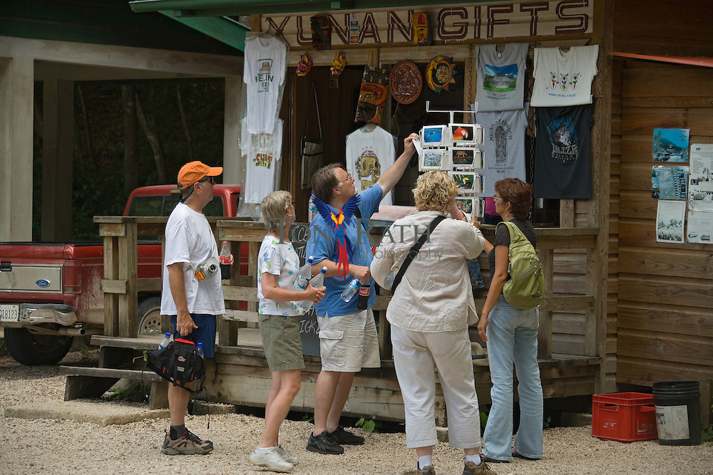 Tourist at gift shop at Xunantunich Mayan site, Cayo District, Belize