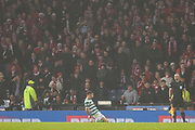 Ryan Christie celebrates his goal in front of Aberdeen fans during the Betfred Cup Final between Celtic and Aberdeen at Hampden Park, Glasgow, United Kingdom on 2 December 2018.