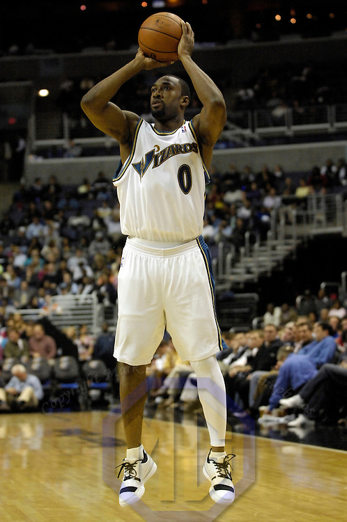 14 November 2007:   Washington Wizards guard Gilbert Arenas (0) shoots and score two of his 30 points in the first half against the Indiana Pacers at the Verizon Center in Washington, D.C.  The Wizards defeated the Pacers 103-90.