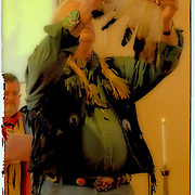 Sonny Three Mountains Campbell, Call to worship, prayer to the four directions..Native American Sunday Spirtual Worship Service. Native Americans in regalia for spirtual time and sharing of cultures at the Sayville Congregrational UCC Church in Sayville, New York on November 23,2008.