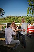 Young couple enjoying a personal wine tasting at Camyr Allyn Vineyard in the Hunter Valley, Australia