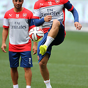 Arsenal players Jack Wilshere, (right) and Santi Cazorla during a training session at Red Bull Arena ahead of the friendly match between Arsenal and New York Red Bulls. Red Bull Arena, Harrison, New Jersey. USA. 24th July 2014. Photo Tim Clayton