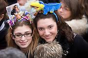"""Two young women at a rally called by women under the slogan """"If not now, when?"""" in Milan, February 13, 2011. Rally takes place in many Itlian town against Prime Minister Berlusconi...Due giovani donne alla manifestazione organizzata dalle donne con lo slogan """"se non ora quando?"""" a Milano, 13 febbraio 2011. La manifestazione si tiene in molte città italiane contro il Primo ministro Berlusconi."""