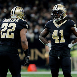 Dec 24, 2017; New Orleans, LA, USA; New Orleans Saints running back Mark Ingram (22) and running back Alvin Kamara (41) during the second quarter against the Atlanta Falcons at the Mercedes-Benz Superdome. Mandatory Credit: Derick E. Hingle-USA TODAY Sports