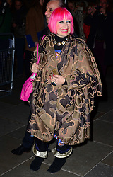 Zandra Rhodes attends a VIP private view of David Bailey: Bailey's Stardust, a major exhibition showcasing the work of acclaimed fashion photographer David Bailey, providing a retrospective of his career during which he has photographed stars including The Beatles, Andy Warhol and Jack Nicholson. Sponsored by Hugo Boss, at National Portrait Gallery, St Martin's Place,  London, United Kingdom. Monday, 3rd February 2014. Picture by Nils Jorgensen / i-Images