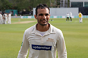Hassan Azad leaves the field during the Specsavers County Champ Div 2 match between Leicestershire County Cricket Club and Gloucestershire County Cricket Club at the Fischer County Ground, Grace Road, Leicester, United Kingdom on 17 June 2019.