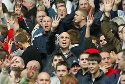 LIVERPOOL, ENGLAND - Saturday, April 19, 2003: Liverpool supporters taunt the Everton fans singing 'Four European Cups' during the Merseyside Derby Premiership match at Goodison Park. (Pic by David Rawcliffe/Propaganda)