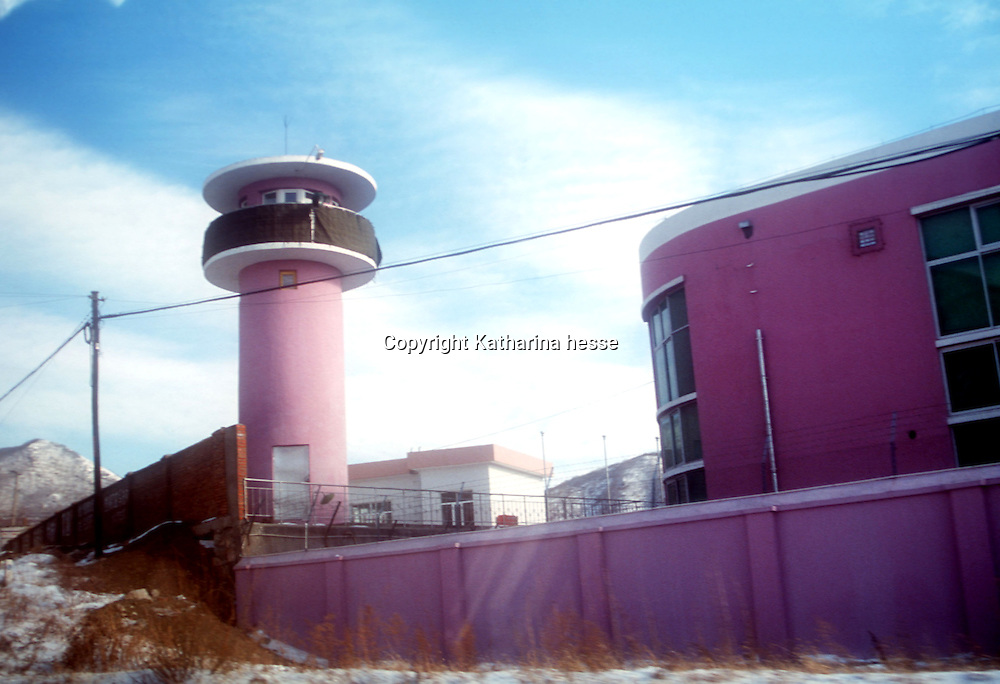 """CHINA, NORTH KOREAN  BORDER- JANUARY 30: The prison where captured North Korean refugees are kept until they are returned to North Korea is seen January 30, 2003 in  China. North Korean nationals fleeing starvation or even sometimes imprisonment, usually are refused entry to China, and if caught, forcibly repatriated. Although China signed a treaty, the Chinese government considers the refugees as """"economic migrants,"""" and rejects arguments that the North Koreans are fleeing a repressive government whose policies have caused millions to die. Despite this official policy, however, in the frozen woods and rivers that separate China and North Korea, in recent years thousands have snuck across to freedom, helped by aid workers and sympathetic locals. Refugees as well as those who help them keep a low profile and remain anonymous."""