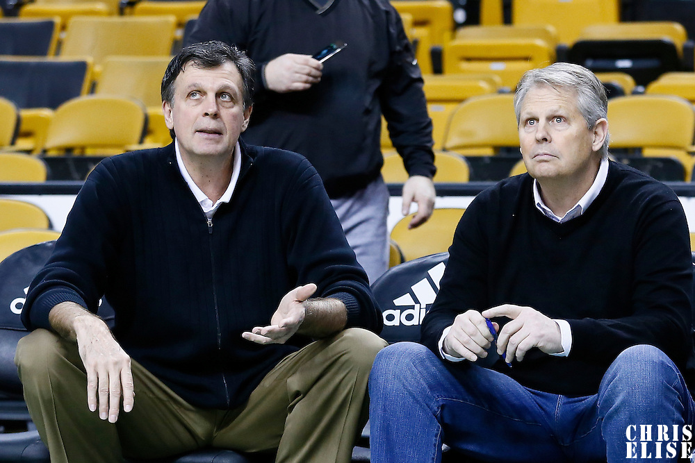 11 January 2013: Houston Rockets head coach Kevin McHale talks to President of Basketball Operations for the Boston Celtics Danny Ainge prior to the Boston Celtics 103-91 victory over the Houston Rockets at the TD Garden, Boston, Massachusetts, USA.