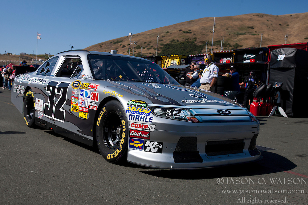 June 25, 2011; Sonoma, CA, USA;  NASCAR Sprint Cup Series driver Terry Labonte (32) drives his car out from the garage during practice for the Toyota/Save Mart 350 at Infineon Raceway.