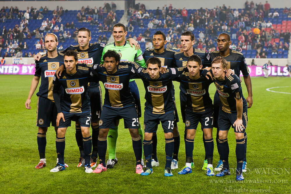 Oct 20, 2011; Harrison, NJ, USA;  Philadelphia Union goalkeeper Faryd Mondragon (1), defender Sheanon Williams (25), defender Danny Califf (4), defender Carlos Valdes (5), midfielder/defender Gabriel Farfan (15), midfielder Amobi Okugo (14), midfielder Zach Pfeffer (27), midfielder Brian Carroll (7), midfielder Justin Mapp (22), midfielder Sebastien Le Toux (9) and midfielder Michael Farfan (21) line up before the game against the New York Red Bulls at Red Bull Arena. New York defeated Philadelphia 1-0. Mandatory Credit: Jason O. Watson-US PRESSWIRE