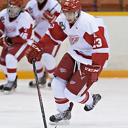 Pickering, ON - Nov 22 : Ontario Junior Hockey League Game Action between Pickering Panthers Hockey Club & Hamilton Red Wings Hockey Club , Niko Porikos #23 of the Hamilton Redwings Hockey Club skates with the puck<br /> (Photo by Dave Powers / OJHL Images)