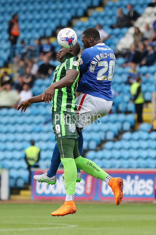Troy Archibald-Henville and Tom Elliott of AFC Wimbledon during the Sky Bet League 2 match between Carlisle United and AFC Wimbledon at Brunton Park, Carlisle, England on 22 August 2015. Photo by Stuart Butcher.