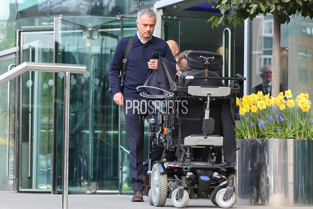 Jose Mourinho Manager of Manchester United Manager departs the Lowry hotel before the Manchester United vs Celta Vigo match  at Old Trafford, Manchester, United Kingdom on 11 May 2017. Photo by Phil Duncan.