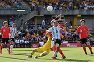 SYDNEY, NSW - FEBRUARY 28: Argentina player Agustina Barroso (2) and Korean player Gaae Kang (1) clash at The Cup of Nations womens soccer match between Argentina and Korea Republic on February 28, 2019 at Leichhardt Oval, NSW. (Photo by Speed Media/Icon Sportswire)
