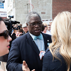 Kansas City Mayor Sly James giving interviews with media shortly after the KC streetcar groundbreaking ceremony, May 22, 2014.
