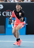 DENIS SHAPOVALOV (CAN) macht die Faust und  jubelt , Jubel,Freude,Emotion,<br /> <br /> <br /> Tennis - Australian Open 2018 - Grand Slam / ATP / WTA -  Melbourne  Park - Melbourne - Victoria - Australia  - 15 January 2018.