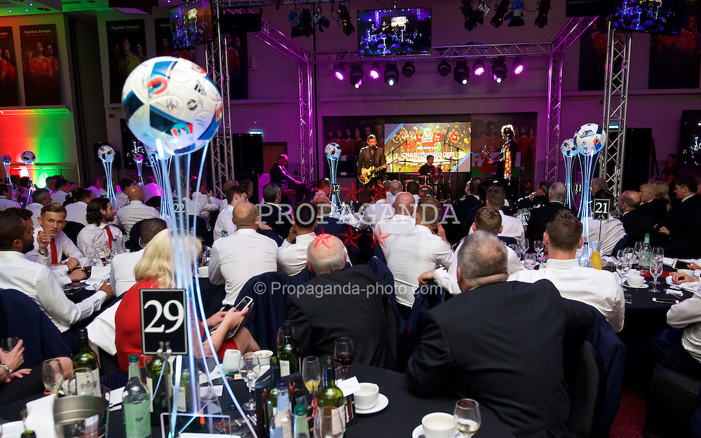 CARDIFF, WALES - Wednesday, June 1, 2016: The Manic Street Preachers perform for the Wales team during a charity send-off gala dinner at the Vale Resort Hotel ahead of the UEFA Euro 2016. (Pic by David Rawcliffe/Propaganda)