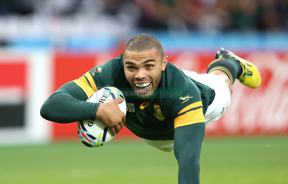 Bryan Habana of South Africa dives over for a second half try <br /> Rugby World Cup England 2015 - South Africa v USA - 07/10/2015 - Queen Elizabeth Olympic Stadium - London<br /> Mandatory Credit : Andrew Fosker / Seconds Left <br /> {22062000}