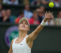 30.06.2014, All England Lawn Tennis Club, London, ENG, WTA Tour, Wimbledon, im Bild Eugenie Bouchard (CAN) during the Ladies' Singles 4th Round match on day seven // 15065000 during the Wimbledon Championships at the All England Lawn Tennis Club in London, Great Britain on 2014/06/30. EXPA Pictures © 2014, PhotoCredit: EXPA/ Propagandaphoto/ David Rawcliffe<br /> <br /> *****ATTENTION - OUT of ENG, GBR*****