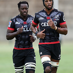 Lubabalo Tera Mtembu of the Cell C Sharks with Hyron Andrews of the Cell C Sharks during The Cell C Sharks Pre Season warm up game 1,The Cell C Sharks B and the Toyota Cheetahs B,at King Zwelithini Stadium, Umlazi, Durban, South Africa. Friday, 3rd February 2017 (Photo by Steve Haag)